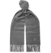Kingsman Fringed Prince Of Wales Checked Cashmere Scarf Gray
