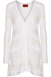 Missoni Gauze Trimmed Crochet Knit Cardigan White