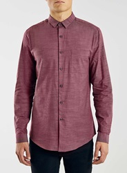 Topman Burgundy Slub Textured Long Sleeve Smart Shirt
