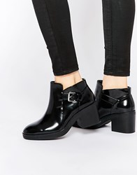 Pull And Bear Patent Cut Out Boot Black