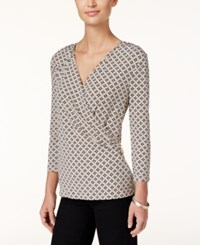 Charter Club Geo Print Faux Wrap Top Only At Macy's Vintage Rose Combo