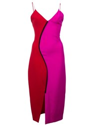 Christian Siriano Two Tone Fitted Dress Pink