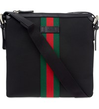 Gucci Techno Striped Messenger Bag Black Red