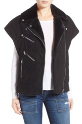 Blanknyc Denim 'Wild Child' Faux Fur Lined Moto Vest Black