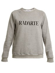 Rodarte Logo Print Cotton Blend Sweatshirt Light Grey