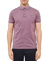 Ted Baker Quince Geo Print Regular Fit Polo Deep Pink