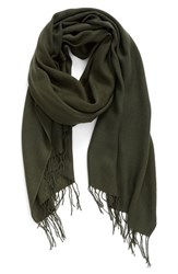 Nordstrom Women's Tissue Weight Wool And Cashmere Scarf Green Forest
