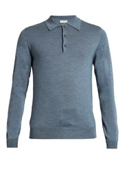 Editions M.R Long Sleeved Wool Knit Polo Shirt Blue