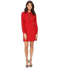 Jill Stuart Short Keyhole Long Sleeve Crepy Dress Garnet Women's Dress Red