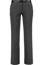 Tory Burch Linette Cropped Wool Blend Straight Leg Pants Gray