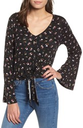 Love Fire Tie Front Bell Sleeve Blouse Black Floral