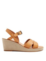 A.P.C. Classic Leather And Suede Wedges Beige