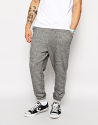 Solid Solid Salt And Pepper Drop Crotch Sweat Pants Black