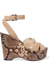 Michael Michael Kors Megan Suede And Snake Effect Leather Wedge Sandals Beige