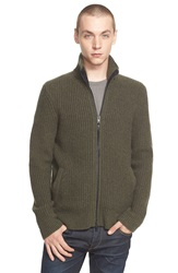 Rag And Bone 'Rhys' Full Zip Merino Wool Sweater Olive Black