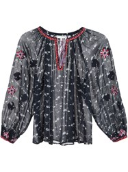 Ulla Johnson Floral Print Peasant Blouse Blue