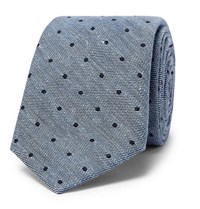 Canali 8Cm Polka Dot Cotton And Linen Blend Tie Blue