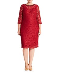 London Times Plus Three Quarter Sleeve Illusion Lace Sheath Dress