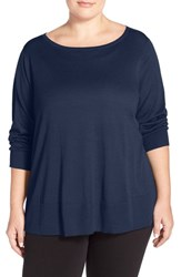 Plus Size Women's Halogen Button Back Boatneck Sweater Navy Peacoat