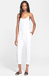 Enza Costa Strappy Linen Jumpsuit White