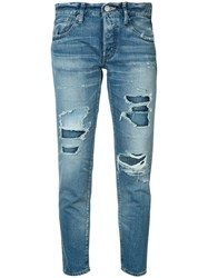 Moussy Distressed Cropped Jeans Blue