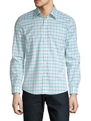Hyden Yoo Plaid Cotton Button Down Shirt Green Multi