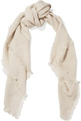 Brunello Cucinelli Frayed Sequined Linen Blend Scarf Beige