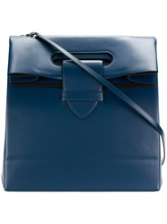Golden Goose Deluxe Brand American Shopping Bag Calf Leather Blue