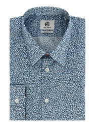 Paul Smith Men's Ps By Micro Marble Print Shirt Blue
