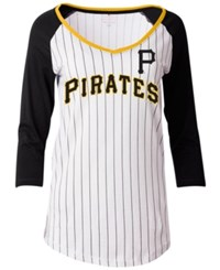 5Th And Ocean Women's Pittsburgh Pirates Pinstripe Glitter Raglan T Shirt White