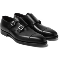 George Cleverley Thomas Cap Toe Suede Monk Strap Shoes Black
