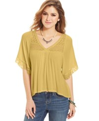 American Rag Three Quarter Sleeve Babydoll Top Ochre