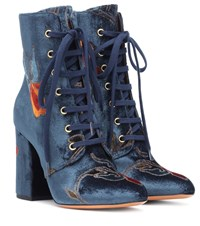 Etro Embroidered Velvet Ankle Boots Blue