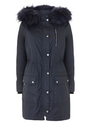 Mint Velvet Navy Waxed Faux Fur Parka Dark Blue