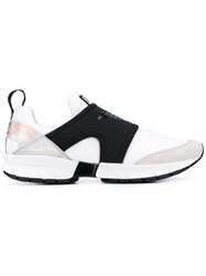 Emporio Armani Ea7 Translucent Panel Sneakers Women Suede Neoprene Polyester Rubber 39 White