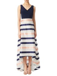 Adrianna Papell Jersey Organza Stripe High Low Dress Navy Ivory Pink