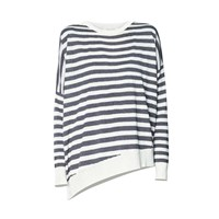 Paisie Cream And Black Striped Top With Asymmetric Hem