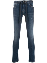 Dolce And Gabbana Drawstring Skinny Jeans Blue