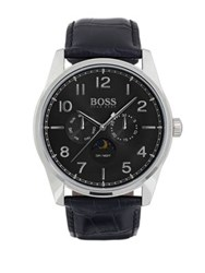 Hugo Boss Heritage Stainless Steel And Leather Strap Watch Black