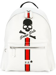 Philipp Plein Skull And Stripe Backpack White