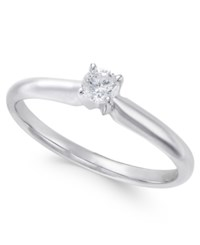 Macy's Diamond Solitaire Engagement Ring 1 3 Ct. T.W. In 18K White Gold