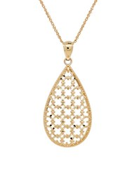 Lord And Taylor 14K Yellow Gold Openwork Teardrop Pendant Necklace