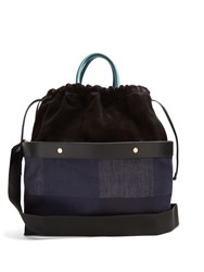 Marni Double Plume Denim And Suede Bag Blue Multi