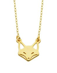 Lord And Taylor Sterling Silver Fox Pendant Necklace Gold