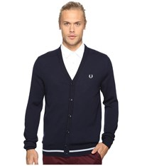 Fred Perry Tipped Merino Cardigan Dark Carbon Men's Sweater Navy