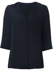 Peter Cohen Concealed Fastening Three Quarter Length Sleeve Shirt Blue