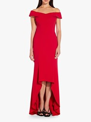 Adrianna Papell Off Shoulder Wrap Gown Spiced Apple Red