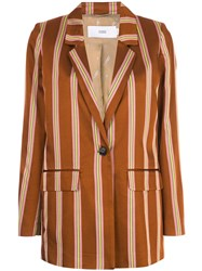 Closed Striped Single Breasted Coat Brown