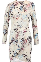 Michelle Mason Wrap Effect Printed Crepe Mini Dress Multi