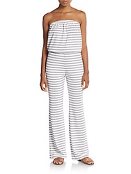 Saks Fifth Avenue Red Striped Strapless Jumpsuit